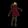 girl jump red coat