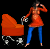 Woman stands to prams