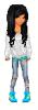 Girl Doll White Sweatshirt Blue Shoes