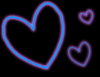 Blue and Pink Glowing Hearts