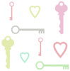 Keys and Hearts Pastel Background
