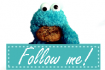 Cookie Monster 'Follow me' button