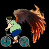 Cyclist blazing with wings