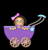 baby girl cartoon in carriage