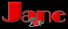 Red name with flower - Jane