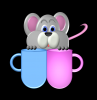 mouse putting fingers in coffee cup