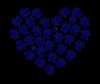Black Paw Print Heart
