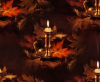 Fall Candle & Leaves