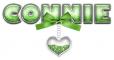 BOW HEART GREEN CONNIE TEXT