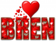 RED LOVE LETTER HEART BREN TEXT
