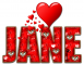 RED LOVE LETTER HEART JANE TEXT