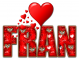 RED LOVE LETTER HEART FRAN TEXT