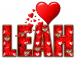 RED LOVE LETTER HEART LEAH TEXT
