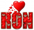 RED LOVE LETTER HEART RON TEXT