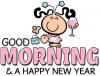 GOOD MORNING & HAPPY NEW YEAR, BUBBLEGUM KIDS, CUTE, TEXT