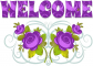 WELCOME, PURPLE ROSE, FLOWERS, TEXT
