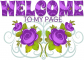 WELCOME TO MY PAGE, PURPLE ROSE, FLOWERS, TEXT