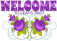 WELCOME TO LEAHS PAGE, PURPLE ROSE, FLOWERS, TEXT