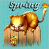 Kitty on a fence Spring Sticker