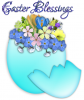 EASTER BLESSINGS, EGG, FLOWERS, HOLIDAYS, TEXT