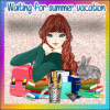 Girl waiting for summer vacation Sticker
