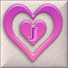 Pink Hearts with J Sticker