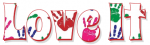 LOVE IT, GG RELATED, RED, HANDPRINT, TEXT