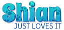 SHIAN JUST LOVES IT, TEAL, PAW PRINT, DOG, TEXT