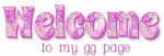 WELCOME TO MY GG PAGE, HEARTS, PINK, PATTERNS, TEXT