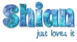 Shian just loves it, TURQUOISE, ABSTRACT, TEXT