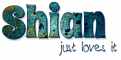 SHIAN JUST LOVES IT, TEAL, ABSTRACT, TEXT