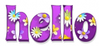HELLO, LAVENDER, FLOWERS, GREETINGS, TEXT