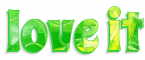 LOVE IT, GG RELATED, GREEN, YELLOW,, SWIRLS, TEXT