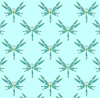 AQUA DRAGONFLIES ON LIGHT TURQUOISE BACKGROUND