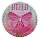 HELLO, BUTTERFLY, CIRCLE, TEXT