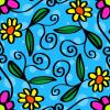 BLUE PASTEL BACKGROUND WITH CARTOON FLOWERS