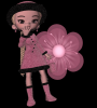 Girl stands on flowers